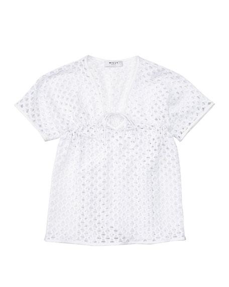 Short-Sleeve Netted Swim Coverup, White, Size 8-14