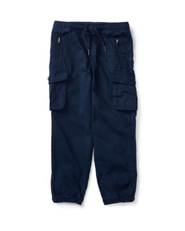 Chino & Terry Cargo Pants, Blue, Size 24