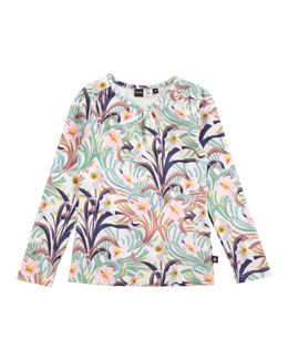 Ruth Long-Sleeve Floral Jersey Tee, Multicolor, Size 3-10