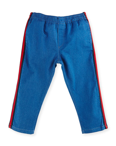 Gucci Felted Jersey Denim Track Pants, Blue/Green, Size