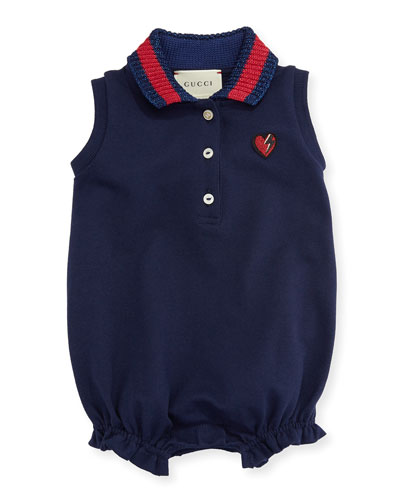 Sleeveless Stretch Pique Playsuit, Navy, Size 3-18 Months