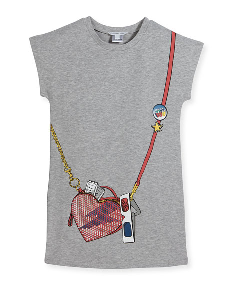 Essential Jersey Heart Crossbody Dress, Gray, Size 4-5