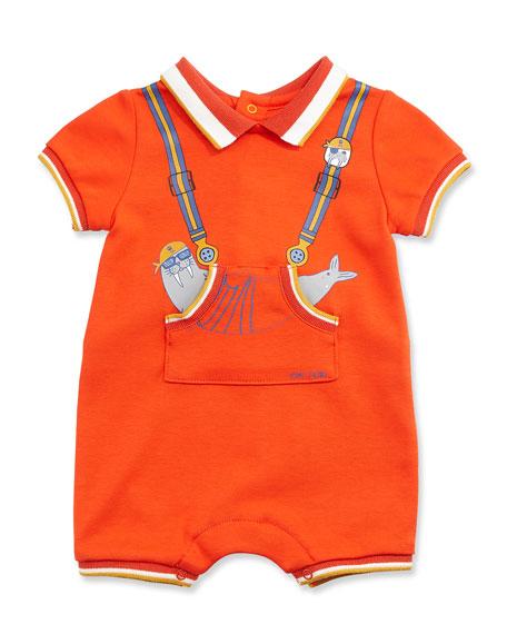 Tipped Trompe l'Oeil Jersey Shortall, Orange, Size 3-12