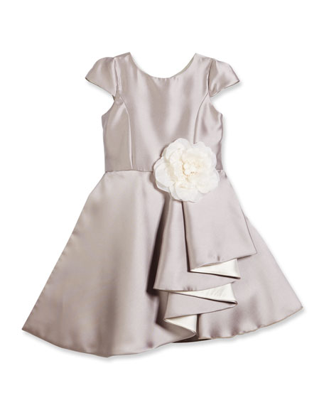 Zoe Cap-Sleeve Draped Satin A-Line Dress, Silver, 7-14