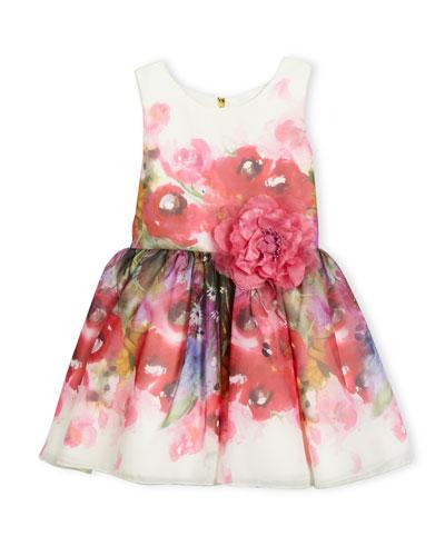 Sleeveless Smocked Floral Chiffon Dress, Pink, Size 7-16