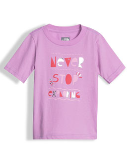 Never Stop Exploring Graphic Jersey Tee, Pink, Size 2-4T