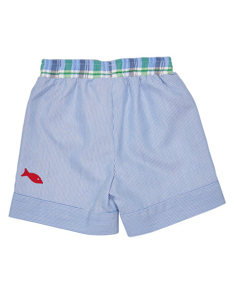 Striped Corduroy Gator Shorts, Blue, Size 6-24 Months