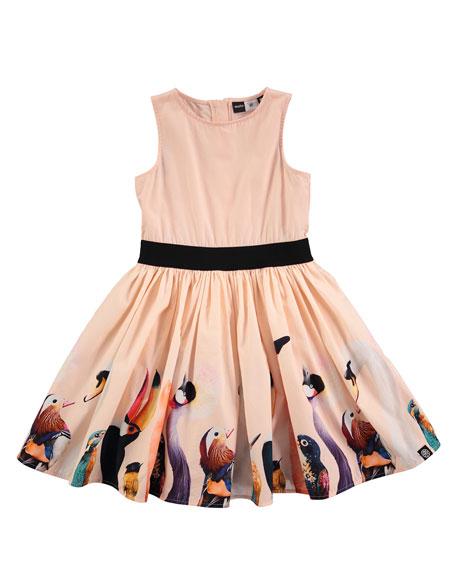 Molo Carli Bird-Print Dress, Sizes 2T/3T-11/12