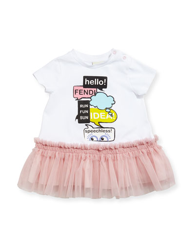 Short-Sleeve Jersey & Tulle Dress, White/Pink, Size 12-24 Months