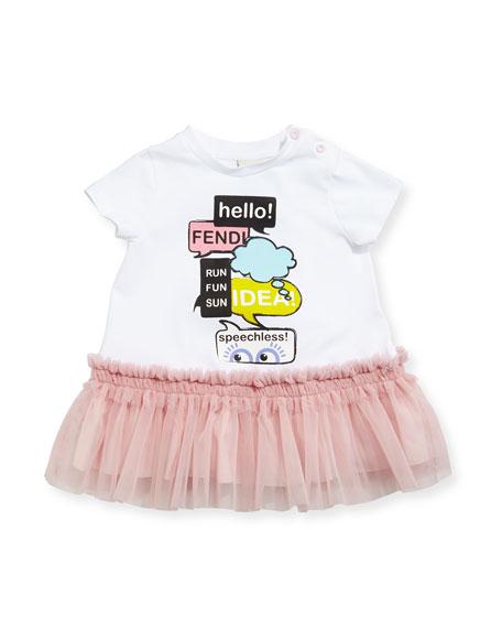 Fendi Short-Sleeve Jersey & Tulle Dress, White/Pink, Size