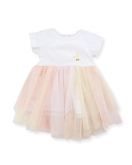 Short-Sleeve Jersey & Tulle Dress, White/Pink, Size 12-18