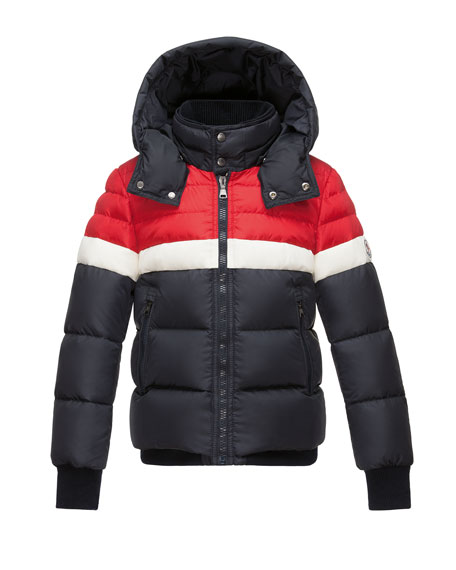 Moncler Aymond Hooded Colorblock Puffer Jacket, Navy, Size