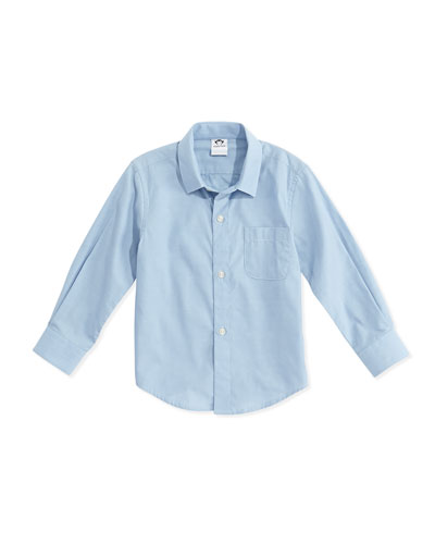 Boys' Poplin Button-Down Shirt, Blue, 2T-14