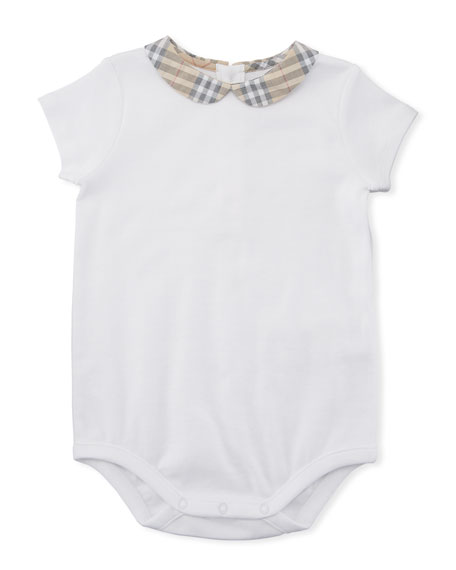 Burberry Izzy Cotton Bodysuit w/ Check Peter Pan