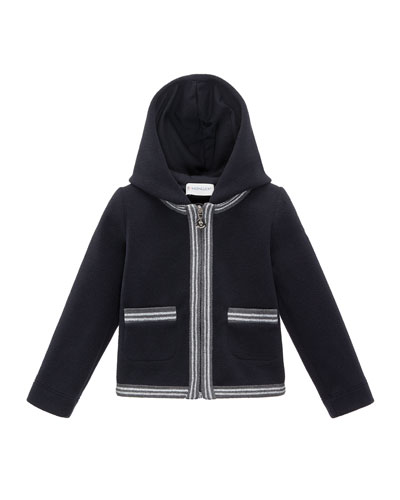 Ribbed Cardigan w/ Down Hood, Black, Size 4-6