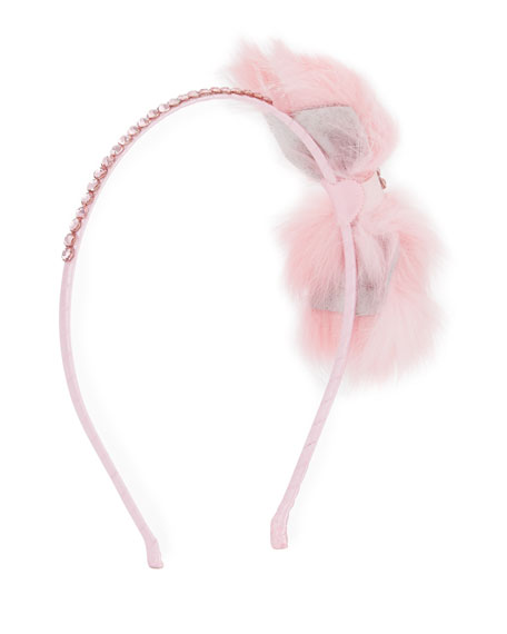 Bari Lynn Fur-Bow Rhinestone Headband, Light Pink