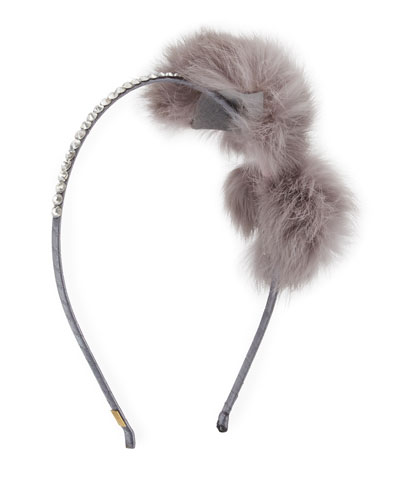 Fur-Bow Rhinestone Headband, White/Silver