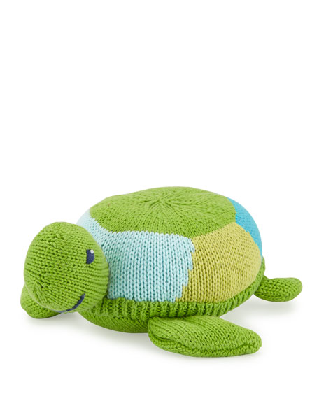Soft Plush Turtle Rattle, Green
