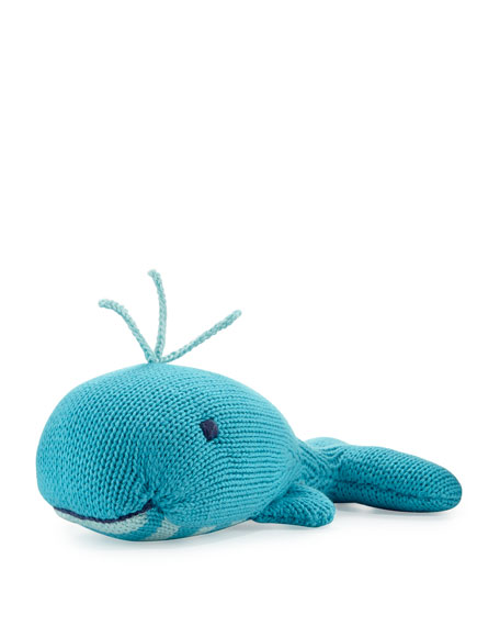 Cotton Whale Rattle, Blue