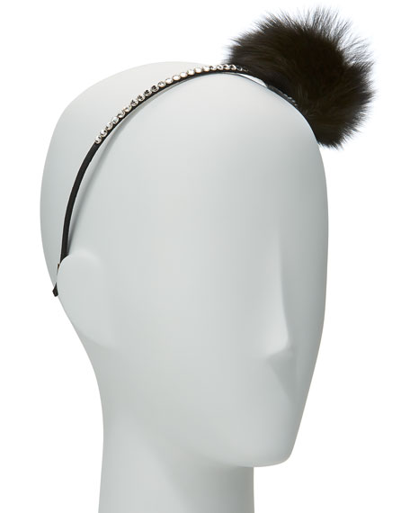 Bari Lynn Girls' Rhinestone & Fox Fur Pompom
