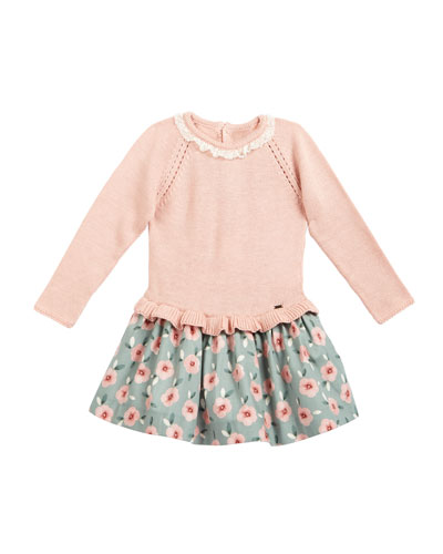 Long-Sleeve Lace Combo Dress, Natural, Size 3-24 Months