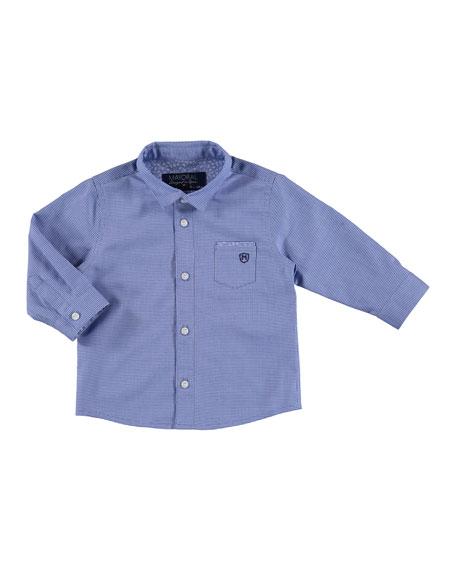 Mayoral Long-Sleeve Mini Gingham Poplin Shirt, Blue, Size