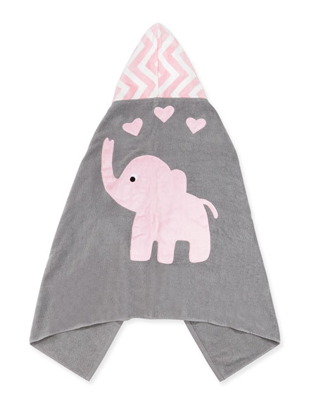 """Personalized """"Big Foot"""" Elephant Hooded Towel, Pink"""