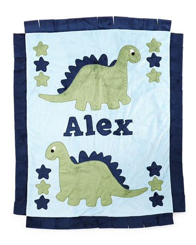 Plush Dino the Dinosaur Blanket, Blue/Green