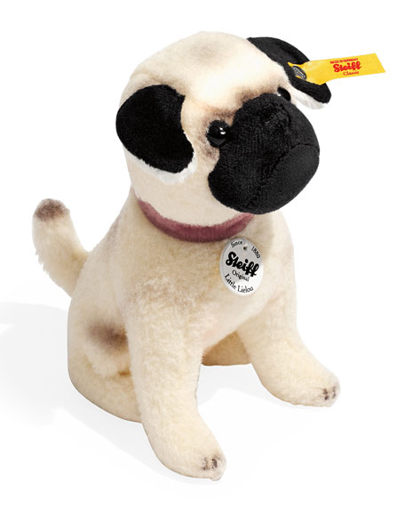 Little Lielou Stuffed Pug, White/Caramel