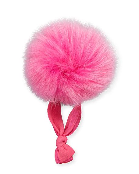 Fur Pompom Ponytail Holder, Pink