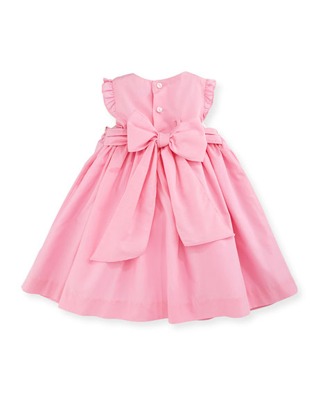 Sleeveless Floral-Trim Smocked Dress, Pink, Size 12-24 Months