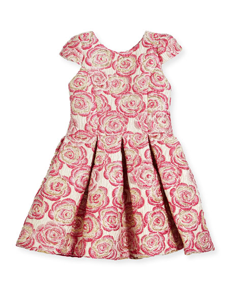 Pleated Metallic Rose Brocade Dress, Pink, Size 7-16
