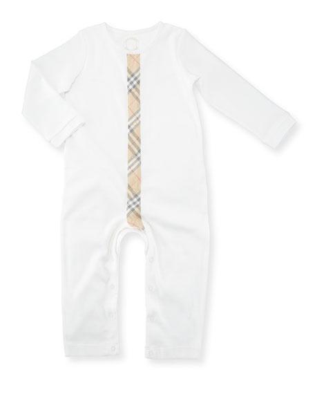 Burberry Check-Stripe Cotton Footie Pajama, Size Newborn-18
