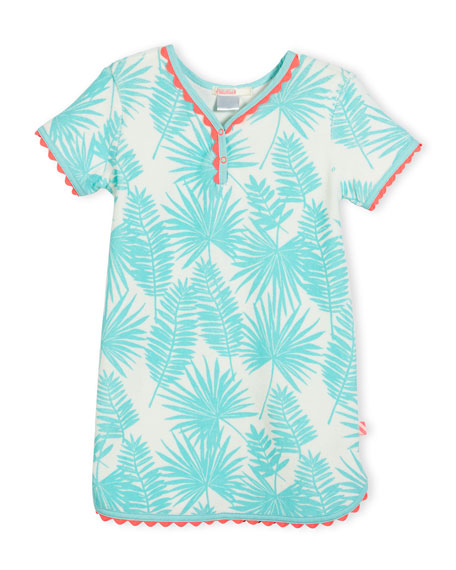 Billieblush Palm Leaf Terry Shift Dress, Seafoam, Size
