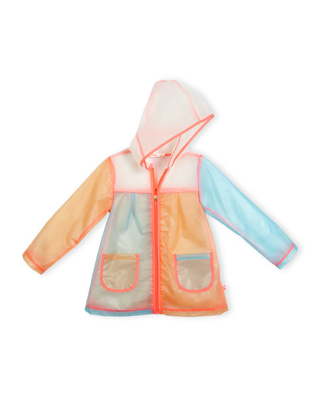 Billieblush Hooded Colorblock Raincoat, Multicolor, Size 4-8