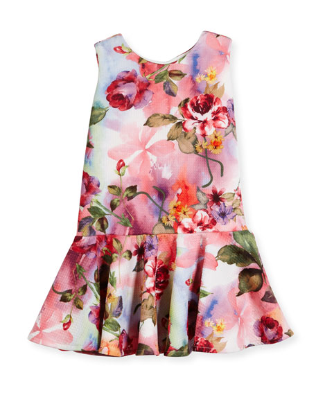 Sleeveless Floral Jacquard Flounce Dress, Multicolor, Size 2-6