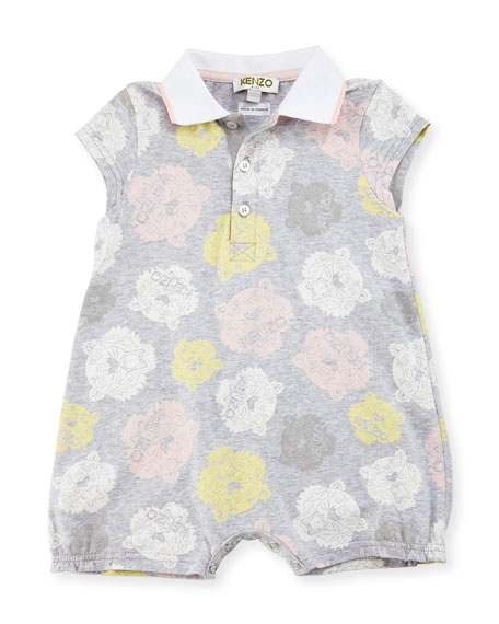 Tiger Logo Printed Romper, Gray, Size 3-18 Months