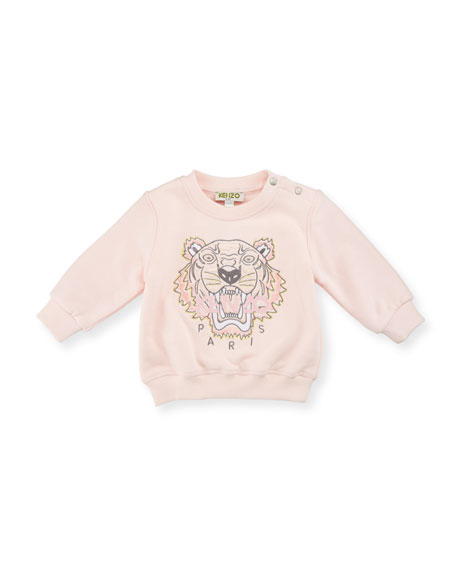 Crewneck Jersey Pullover Sweatshirt, Pink, Size 3-18 Months