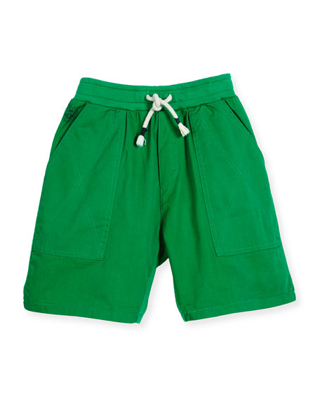 Blake Twill & Terry Shorts, Light Green, Size 8-12