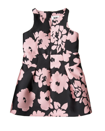 Sleeveless Floral Twill Racerback Dress, Pink, Size 8-16