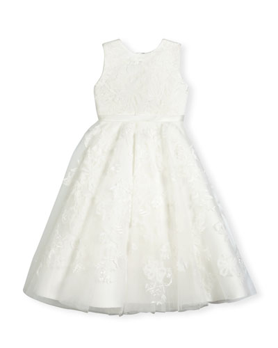 Sleeveless Embroidered Tulle Special Occasion Dress, Ivory, Size 4-14