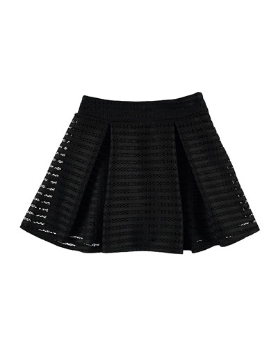 Pleated Striped Mesh Skirt, Black, Size 8-16