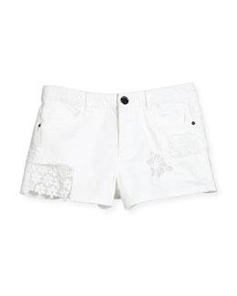 Stretch Denim Lace-Trim Shorts, White, Size 8-16