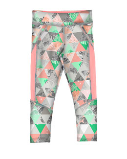 Geometric Paneled Ponte Leggings, Coral/Aqua, Size 8-16