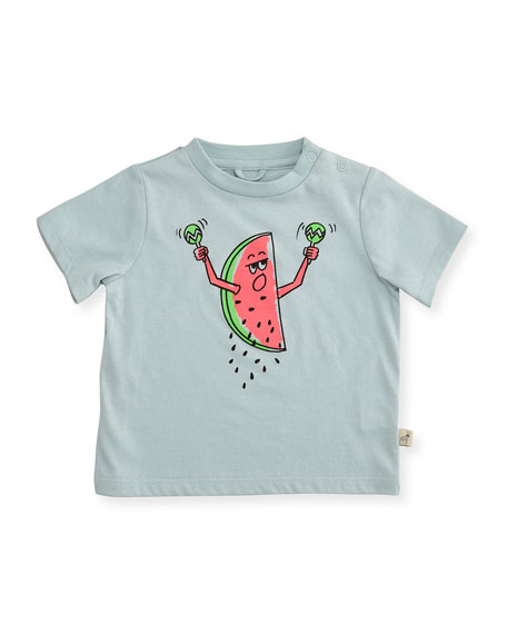 Stella McCartney Short-Sleeve Watermelon Jersey Tee, Blue, Size