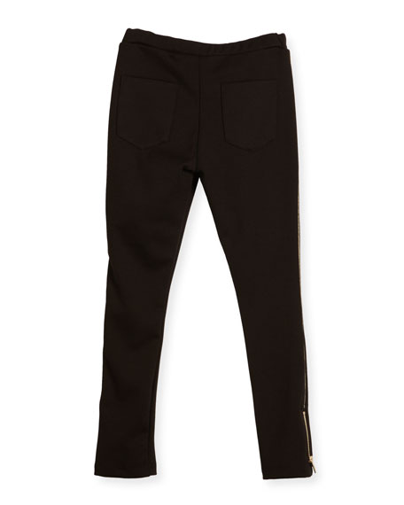 Milano Piped Ponte Leggings, Black, Size 6-10