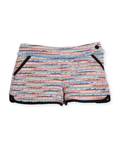 Tweed Fringe Dolphin Shorts, Multicolor, Size 4-5