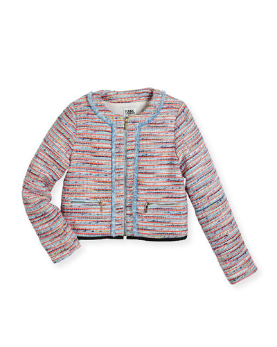 Tweed Fringe Zip-Front Jacket, Multicolor, Size 6-10
