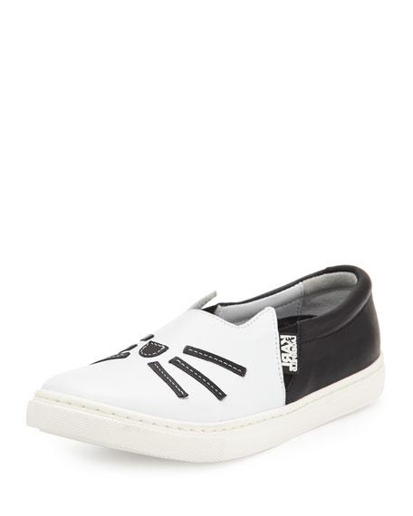 Karl Lagerfeld Leather Choupette Slip-On Sneaker, Black/White,