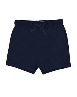 Jersey Drawstring Shorts, Navy, Size 6-24 Months